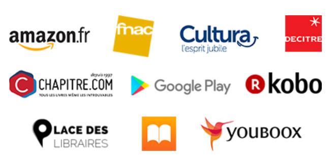 FNAC, Amazon, chpaitre, placedeslibraires, kobo, cultura