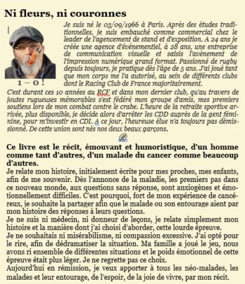 """4ème de couverture """"Ni fleurs, ni couronnes"""""""
